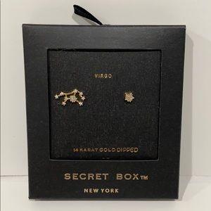 Virgo Zodiac Stud Earrings 14K Gold Dipped